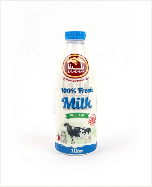 Baladna Fresh Full Fat Whole Cow Milk 1ltr