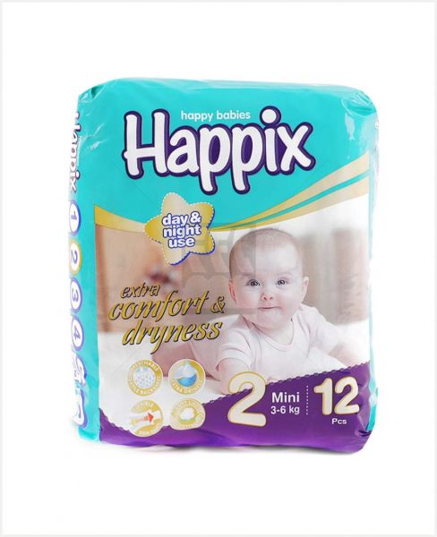 HAPPIX HAPPY BABIES DIAPER 2 MINI 3-6KG 12PCS