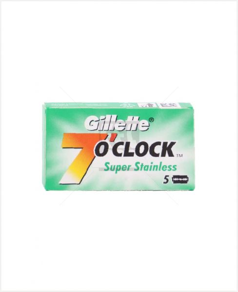 GILLETTE 7 O'CLOCK STAINLESS STEEL BLADE 5PCS #A0001