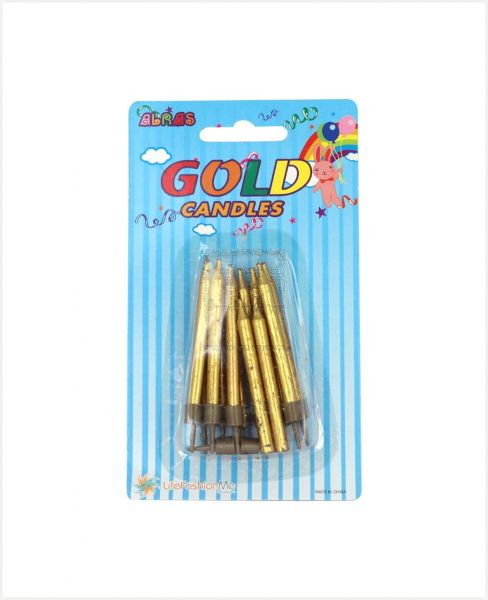 ALRAS GOLD CANDLES W/ HOLDER 12PCS #PA00386
