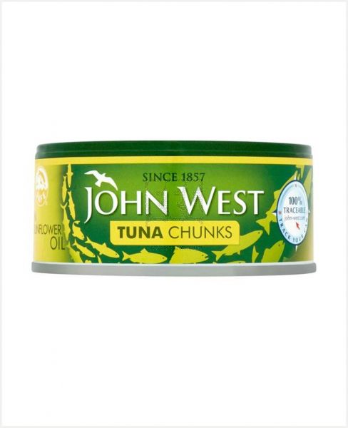 JOHN WEST TUNA CHUNKS IN SUNFLOWER OIL 145GM